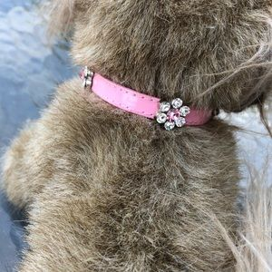 Pink Floral Bling Collar XS & S